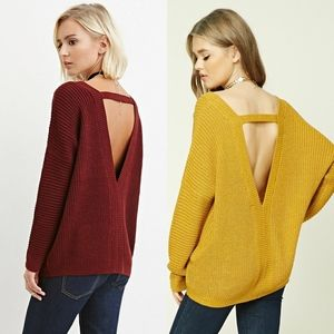Forever 21 V-Neck Cutout Ribbed Sweater